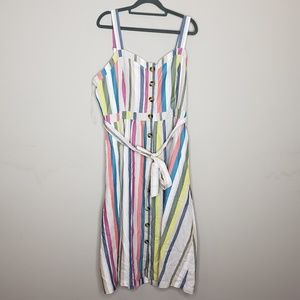 Time and Tru Sleeveless Midi Dress Striped Belted